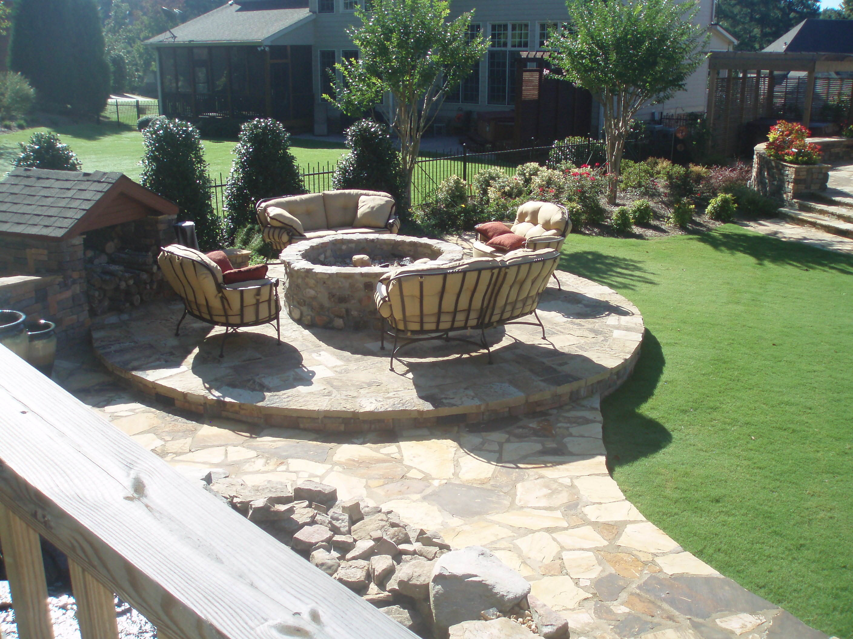 Yard with Stone Fireplace